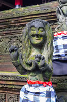 Statue in Hindu temple in Sacred Monkey Forest