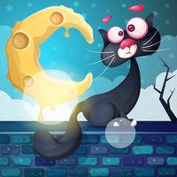 Funny, cute, crazy cat character. Moon, cloud, stone.