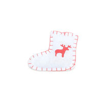 small toy winter boot with nothern deer isolated on white background.