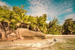 Retro style image of tropical island beach Anse Lazio, Praslin, Seychelles