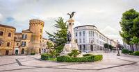 Abruzzo region city square in Italy, Vasto with the Statue in Piazza Gabriele Rossetti square