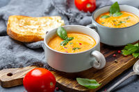 Delicious tomato soup with spices and herbs.