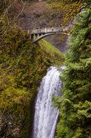 OREGON, USA - APRIL 17, 2017: The bridge over Multnomah Falls with tourists in the Columbia River Gorge, Oregon