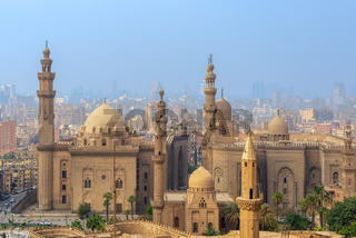 Aerial view of Cairo city from Cairo Citadel with Al Sultan Hassan and Al Rifai Mosques, Cairo, Egypt