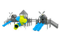 Modern playground for children black and white two blue slides and a yellow insert 3d rendering on a white background no shadow