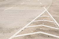 road detail, highway background - white lines on asphalt road -
