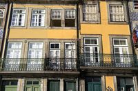 Traditional facades, Colorful architecture in the Old Town of Porto
