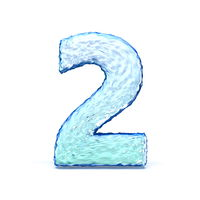 Ice crystal font Number 2 TWO 3D
