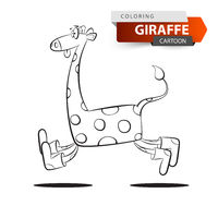 Funny, cute, crazy giraffe jump on the white background.