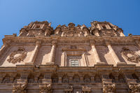 Ornate facade of Le Clericia church in Salamanca Spain