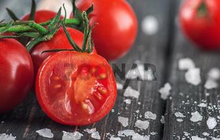 Sliced cherry tomato and salt