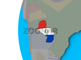 Paraguay with flag on 3D globe