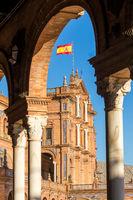Hauptgebäude bei der Plaza de España, Sevilla, Andalusien, Spanien, Europa