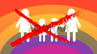 gay families icons, not approved on rainbow flag background
