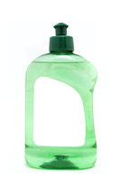 A green dish soap bottle with blank label isolated on white background