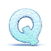 Ice crystal font letter Q 3D