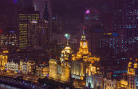 Shanghai, China - May 21, 2018: A night view of the colonial embankment skyline in Shanghai, China