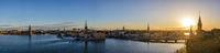 Stockholm Sweden, panorama sunrise city skyline at Gamla Stan and Slussen