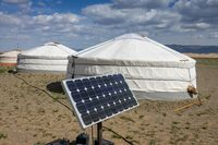 Mongolian tent ger and solar panel