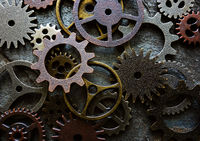 Assorted machine gears and components background