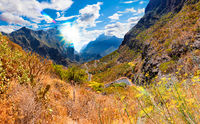 Scenery valley in Spain.Nature landscape.Travel adventures and outdoor lifestyle.