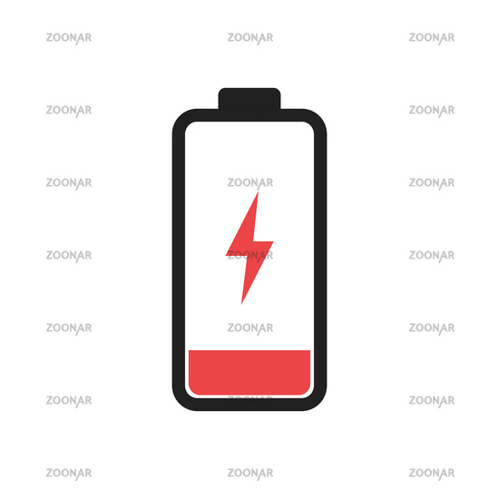Low battery level icon isolated. Charging symbol. Electic charge technology.