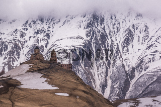 gergeti chapel on mountain top