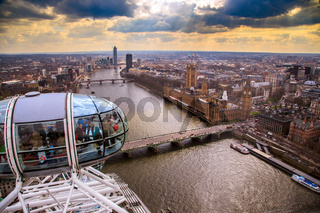 England, London, London Eye and cityscape