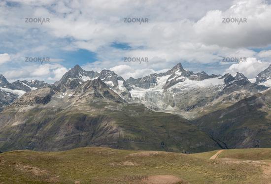 View closeup mountains scene in national park Zermatt, Switzerland