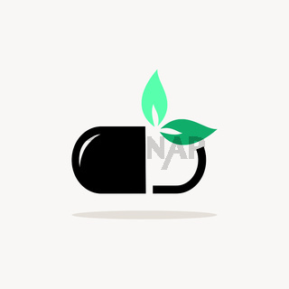 Nature pill. Icon with shadow on a beige background. Pharmacy vector illustration