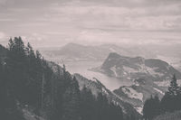 Panorama view of Lucerne lake and mountains scene in Pilatus of Lucerne