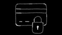 ATM security icon designed with drawing style on chalkboard, animated footage ideal for compositing and motiongrafics