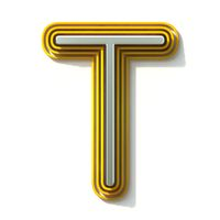 Yellow outlined font letter T 3D