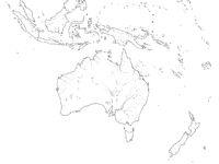 World Map of AUSTRALASIA REGION: Australia, Oceania, Indonesia, Polynesia, Pacific Ocean. Geographic chart.