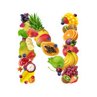 Letter N made of different fruits and berries, fruit alphabet isolated on white background