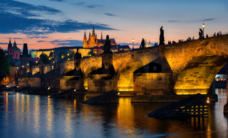 Sunset over Charles bridge
