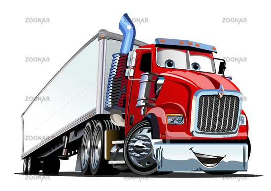 Cartoon cargo semi truck isolated on white background