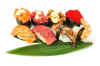 Sushi set of rolls isolated on white