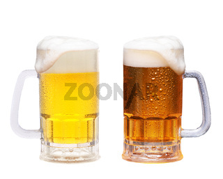 Two cold frosty mugs of beer on a white background, Pale ale and Red Lager.