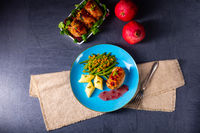 Chicken roulades with polish dumplings (kopytka) and green beans