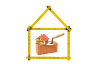 Logo for house and construction company with brick and folding rule