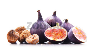 Composition with fresh and dried figs isolated on white.