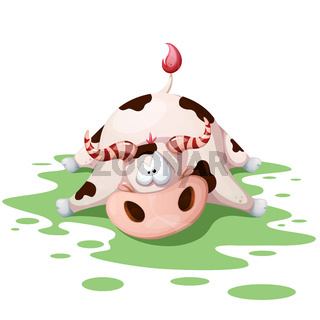 Funny, cute, crazy cartoon cow characters.