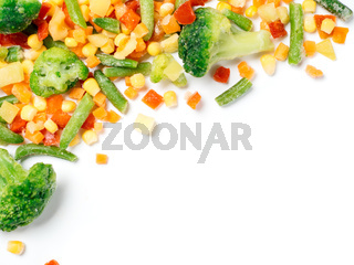 Frozen vegetables assorted isolated on whit