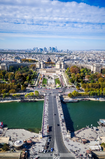 Aerial city view of Paris from Eiffel Tower, France