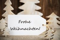 Christmas Tree, Label, Frohe Weihnachten Means Merry Christmas