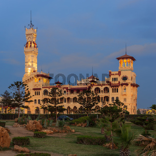 Royal palace at Montaza public park after sunset, Alexandria, Egypt