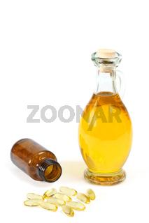 Vitaminkapseln mit Ölflasche