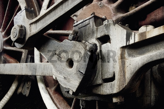Close up details of a retro train wheel.