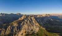 Aerial view of Pizes de Cir mountain range and Gardena Pass, Italy